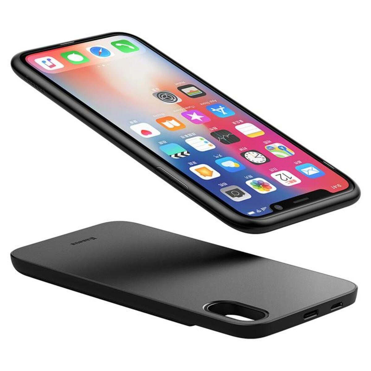 Baseus Power Bank tok, és hátlap egyben, 1 + 1 vezeték nélküli töltéssel, 5.000 mAh iPhone X, fekete (ACAPIPHX-ABJ01)