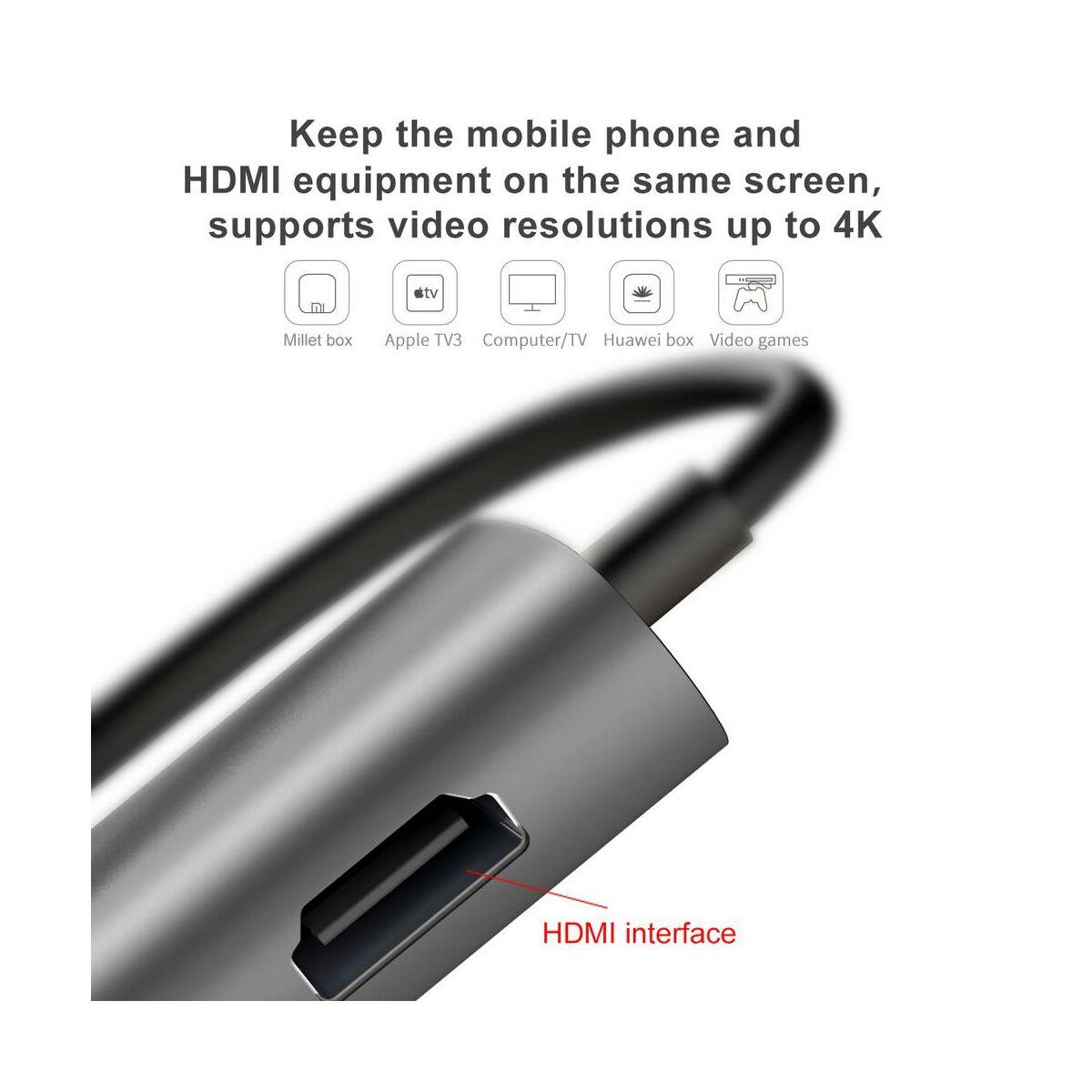 Baseus HUB, Almighty 8-in-1 (Type-C bementről - 3xUSB 3.0/HDMI/RJ45/PD/SD/TF) adapter, szürke (ACBOOK2-0G)