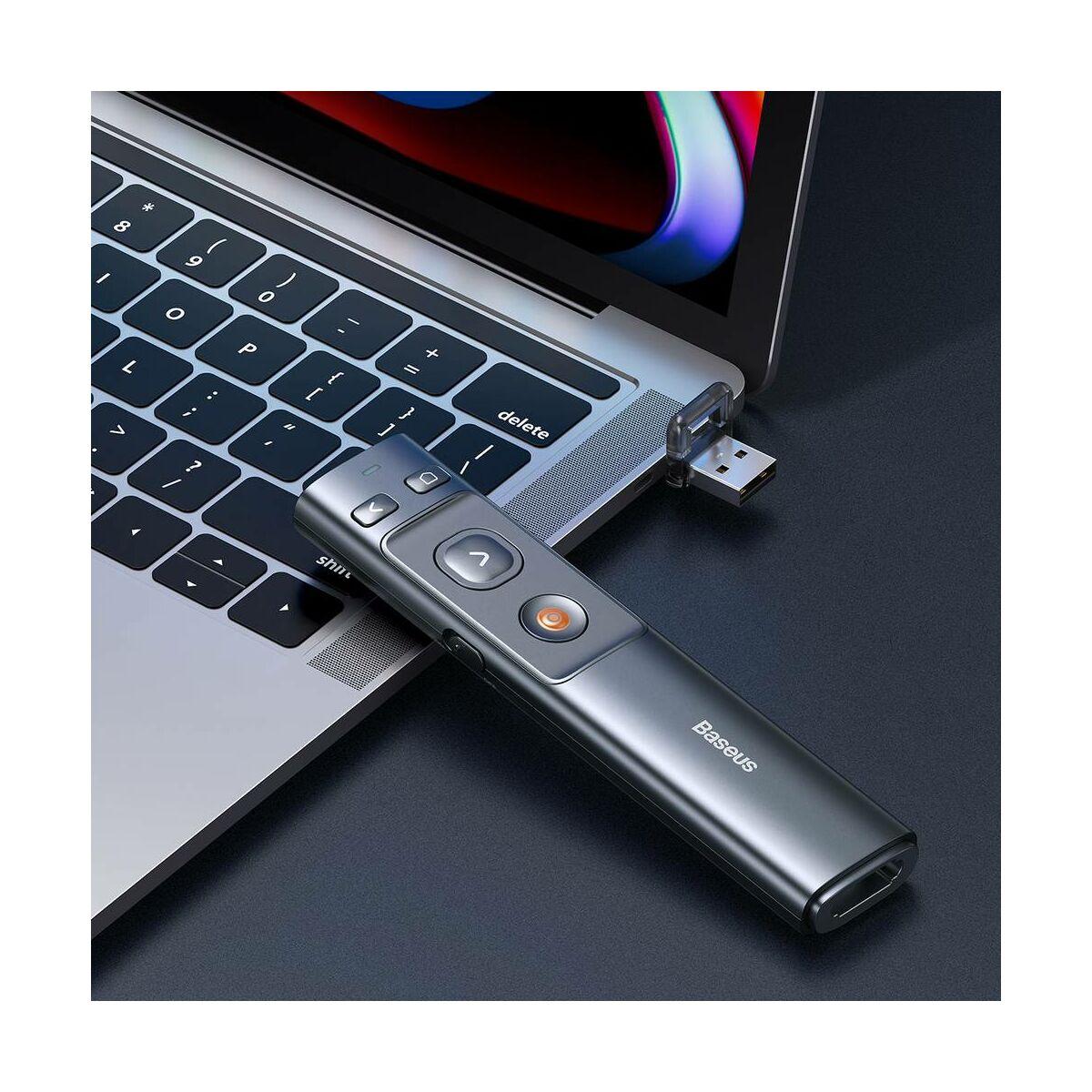 Baseus Lézer pointer, Vezeték nélküli, piros fénnyel, Power Point lapozó funkcióval, szürke (ACFYB-0G)