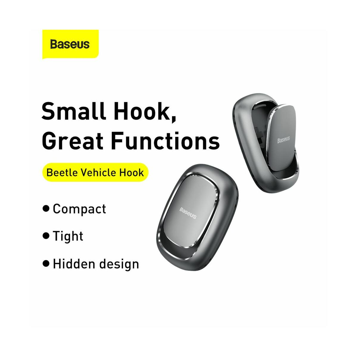 Baseus autós kiegészítő, Beetle, ragasztható fogas, sötét szürke (ACGGJK-0G)