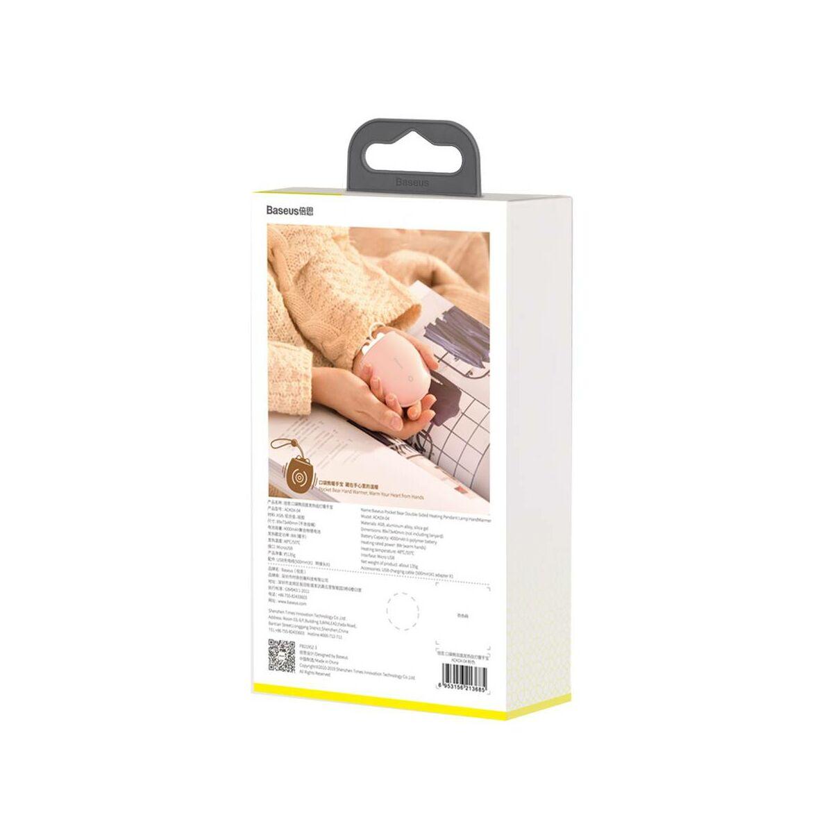 Baseus kézmelegítő két kezes Pocket Bear tölthető, zsebben könnyen elfér, kék (ACKDX-06)
