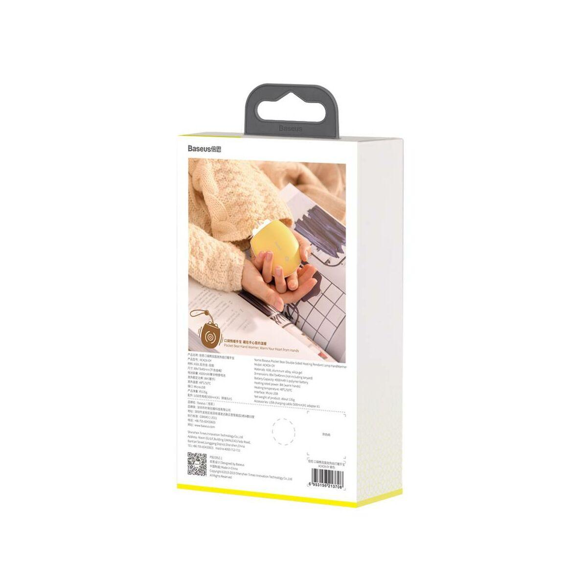 Baseus kézmelegítő, két kezes Pocket Bear tölthető, zsebben könnyen elfér, citrom (ACKDX-0Y)