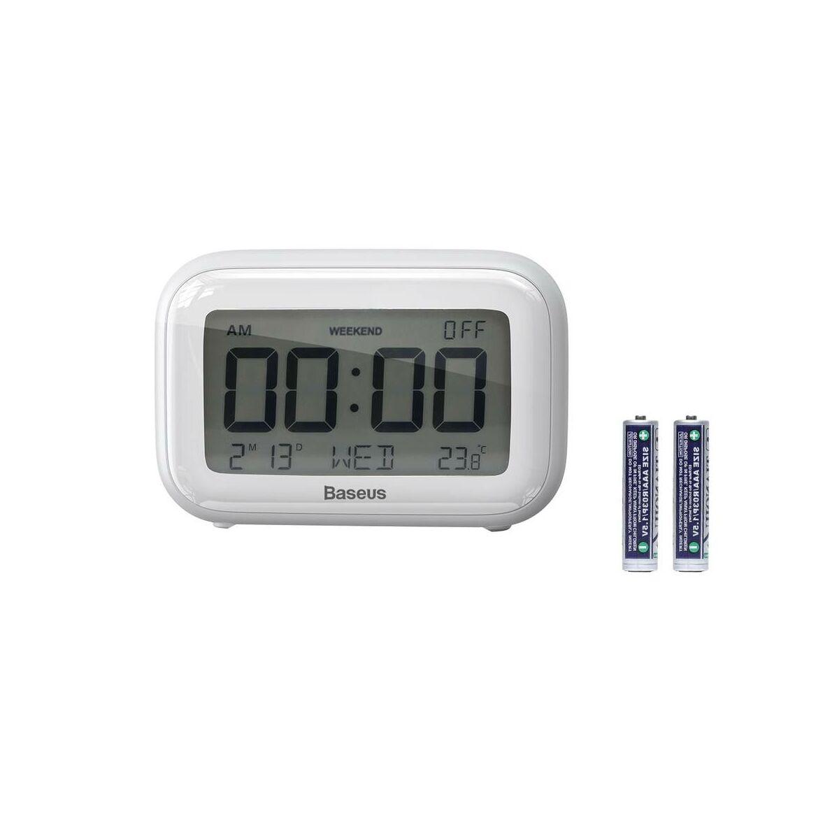 Baseus otthon, Subai óra extra AAA elemmel, fehér (ACLK-A02)