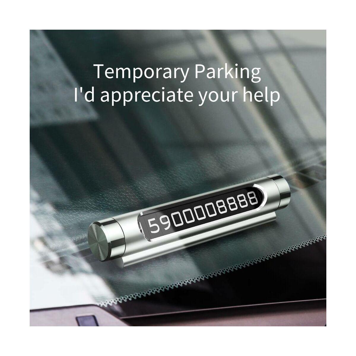 Baseus autós kiegészítő, All Metal Temporary telefonszám kijelző műszerfalra parkoláshoz (dual-számos verzió), fekete (ACNUM-C01)
