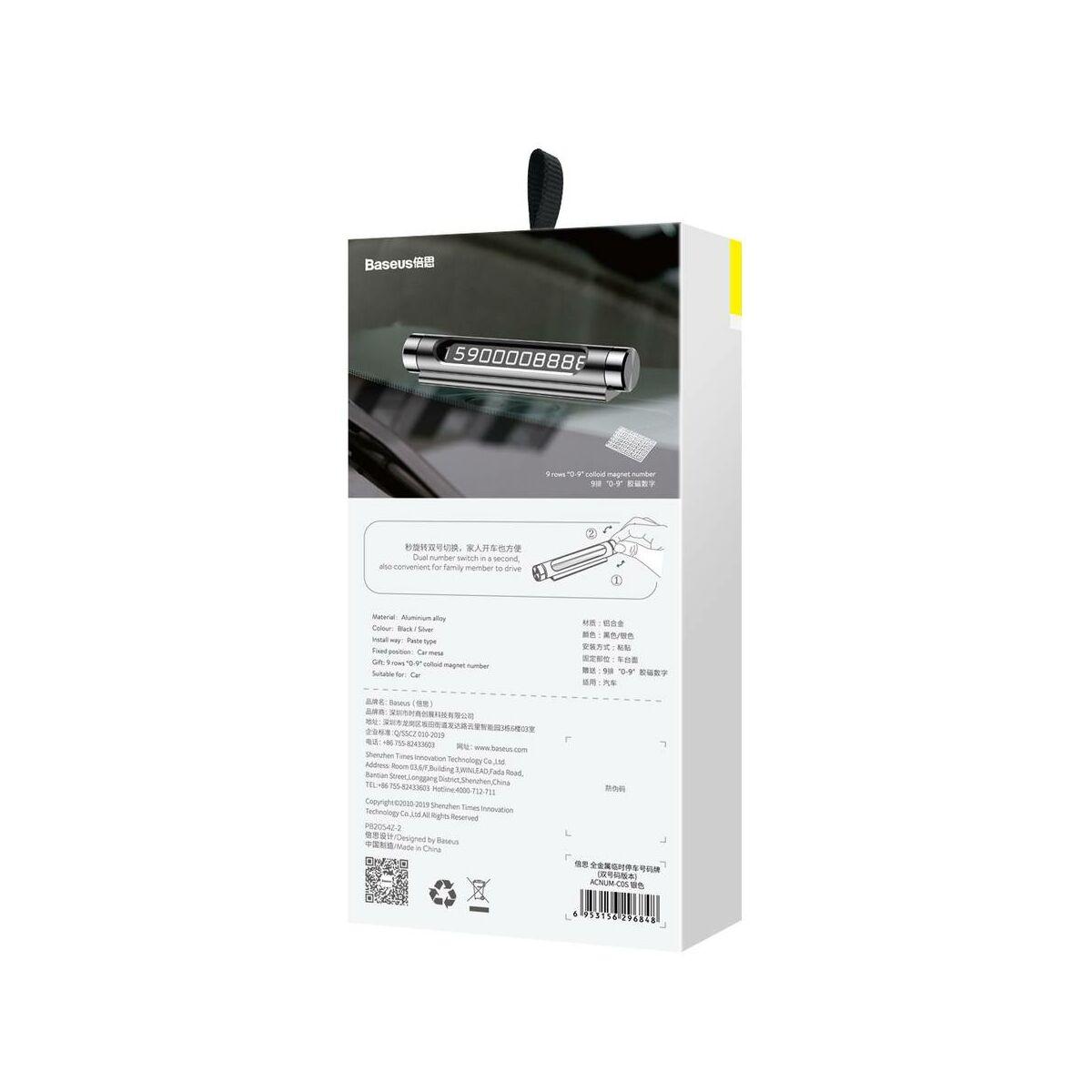 Baseus autós kiegészítő, All Metal Temporary telefonszám kijelző műszerfalra parkoláshoz (dual-számos verzió), ezüst (ACNUM-C0S)