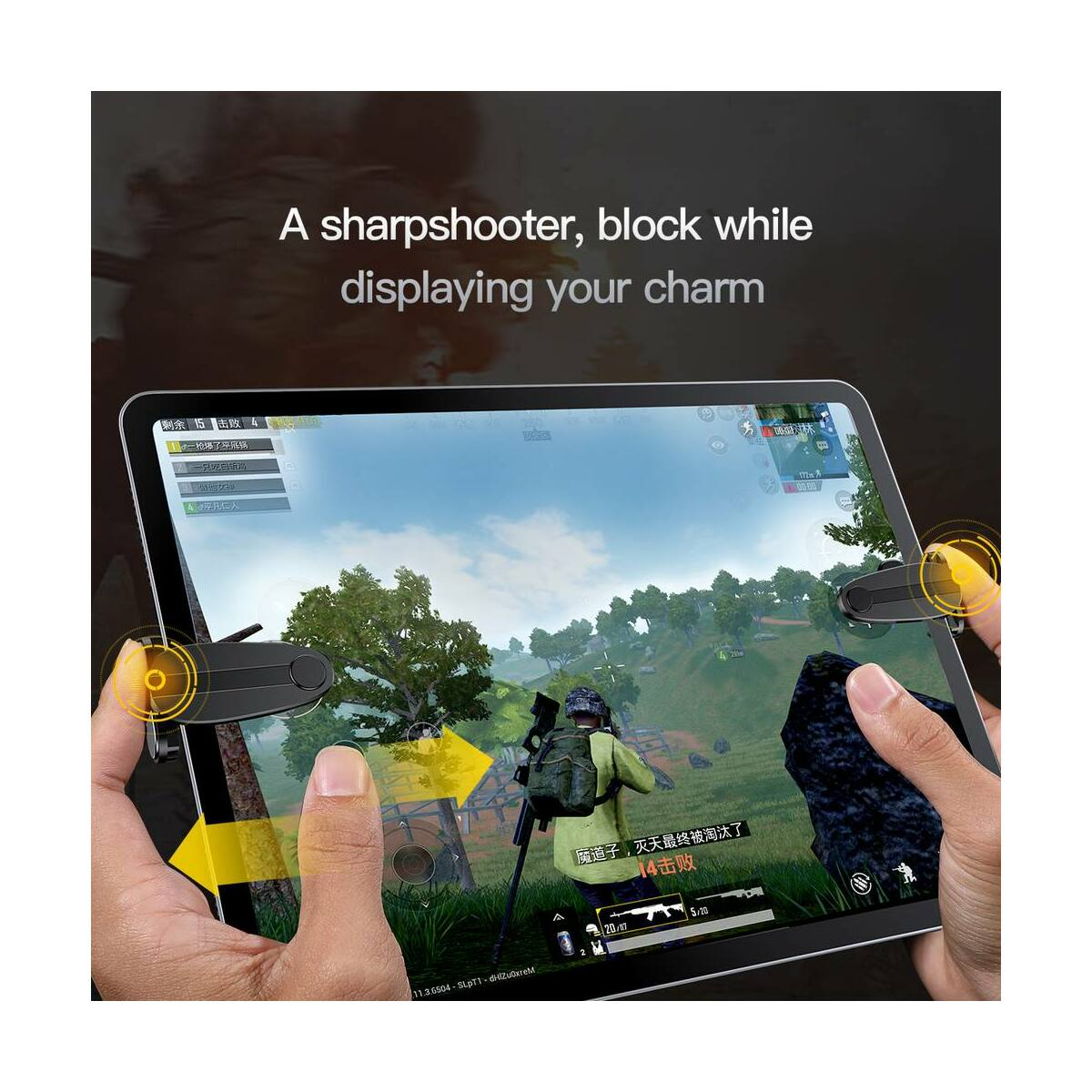 Baseus játék eszköz, tartás könnyítő, extra gombok iPad és más Tablethez, átlátszó (ACPBCJ-02)