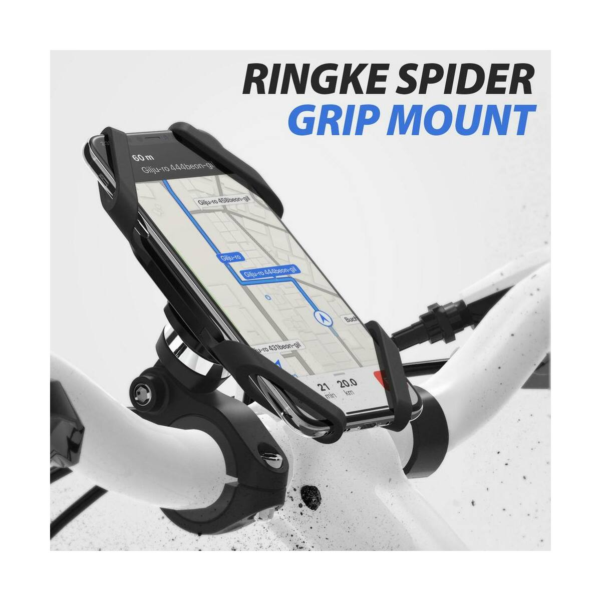 Ringke, Szilikonos telefontartó, kerékpárra szerelhető, Fekete