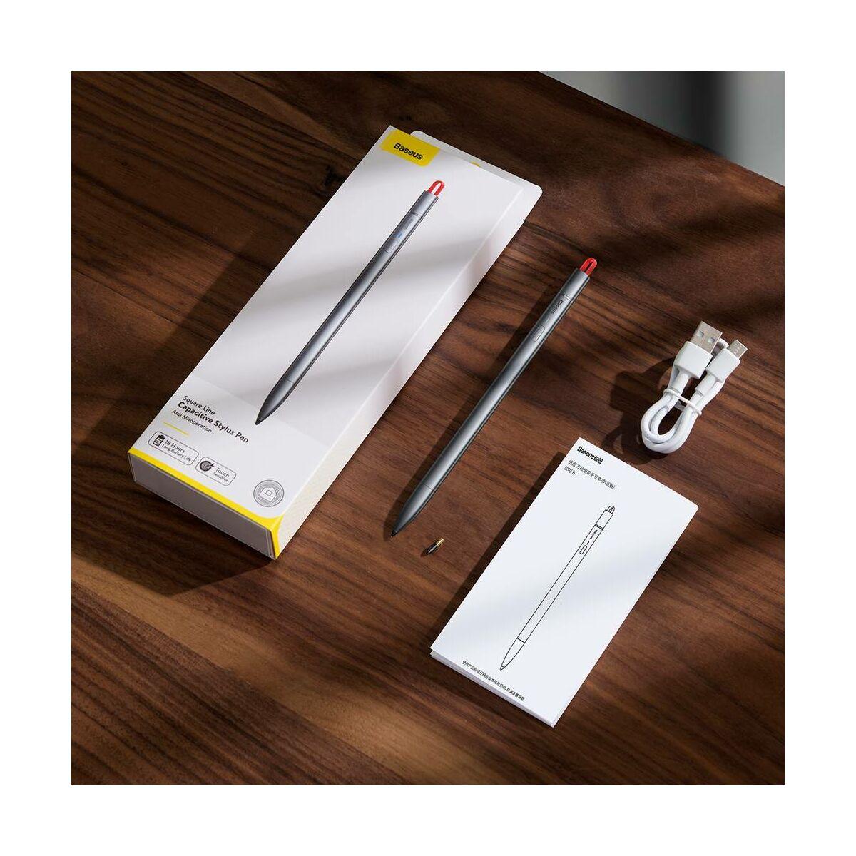 Baseus Tablet kiegészítő, toll Square Line Capacitive Stylus, precíziós használatra és rajzoláshoz tervezve, extra heggyel, szürke ACSXB-A0G