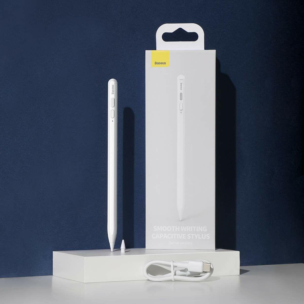 Baseus Tablet kiegészítő Toll Smooth Writing Capacitive Stylus (Aktív verzió Type-C kábellel 3A 0.5m), fehér (ACSXB-B02)