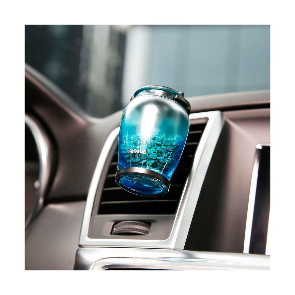 Baseus autós illatosító, Zeolite üveg + csiptető + illatanyag (Sea spice + Angel spice), kék (AMROU-03)