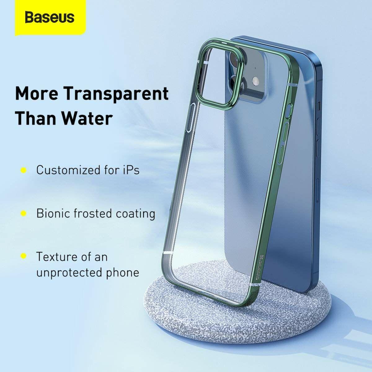 Baseus iPhone 12 mini tok, Shining (esés védelemmel), zöld (ARAPIPH54N-MD06)