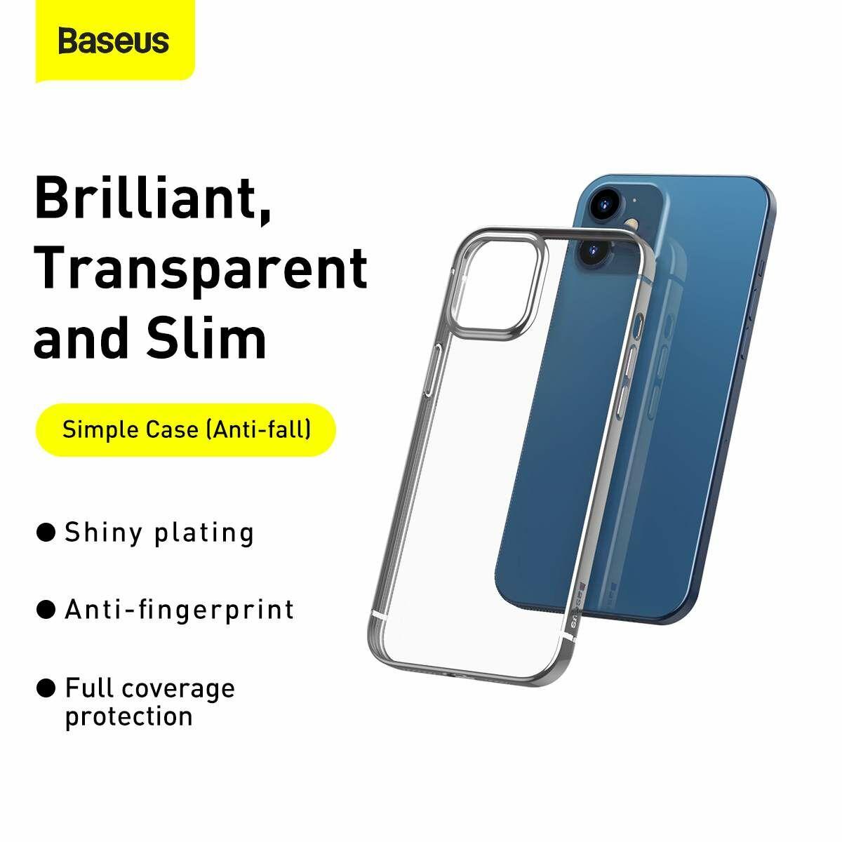 Baseus iPhone 12 mini tok, Shining (esés védelemmel), ezüst (ARAPIPH54N-MD0S)