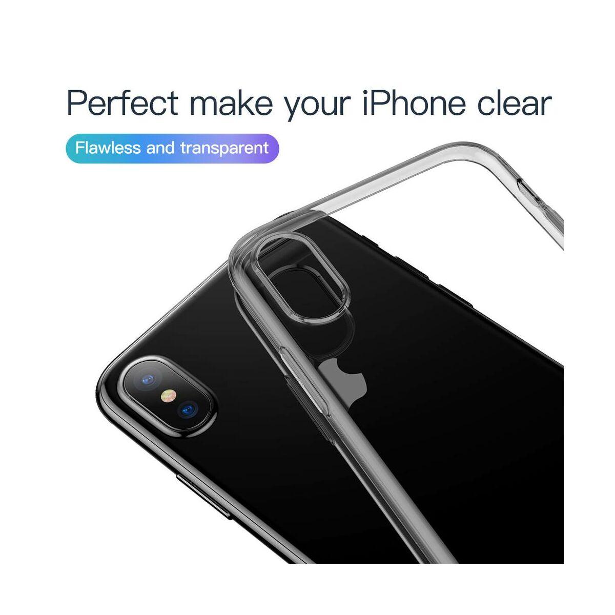 Baseus iPhone XS tok, Simplicity, pormentes, átlátszó fekete (ARAPIPH58-A01)