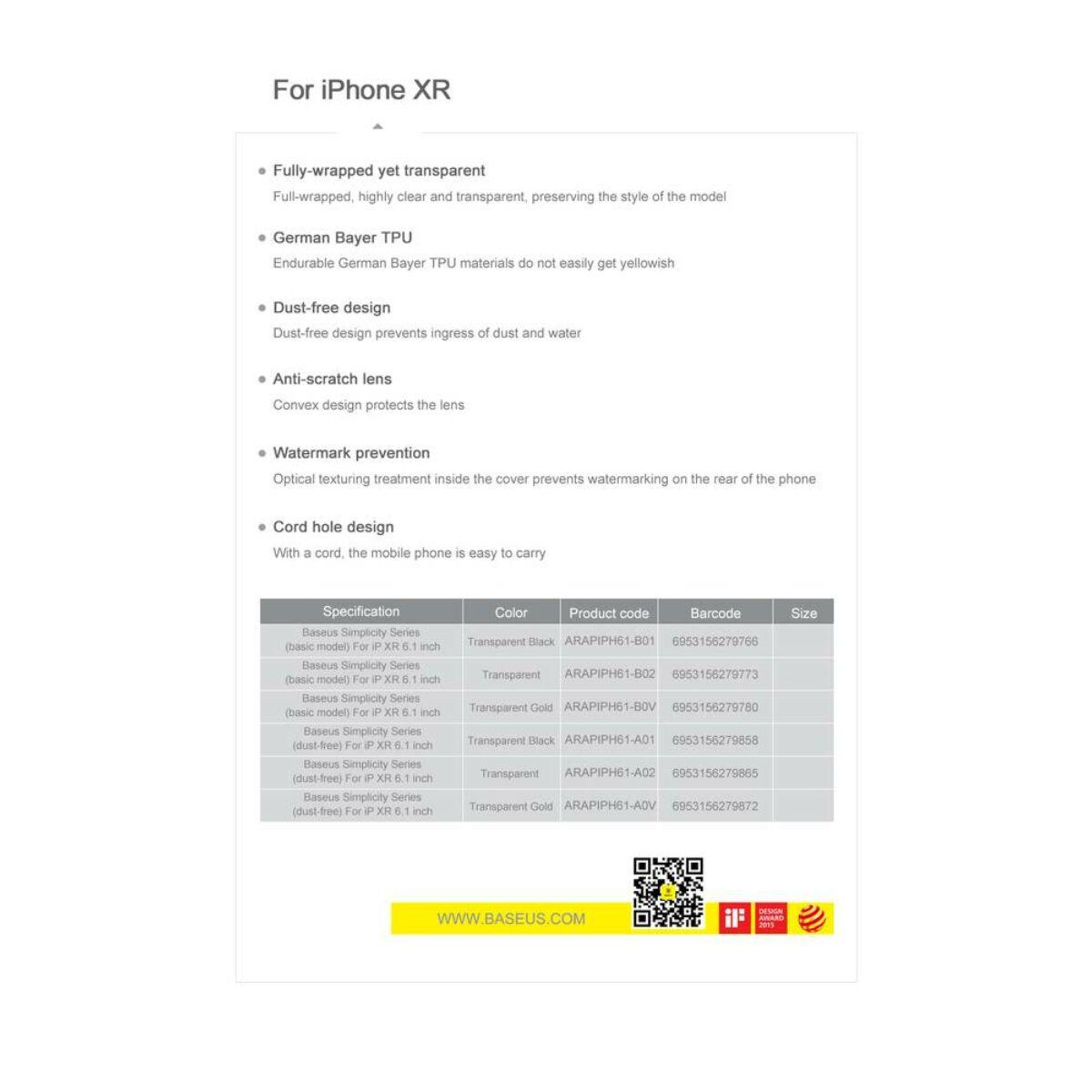 Baseus iPhone XR tok, Simplicity, átlátszó fehér (ARAPIPH61-B02)