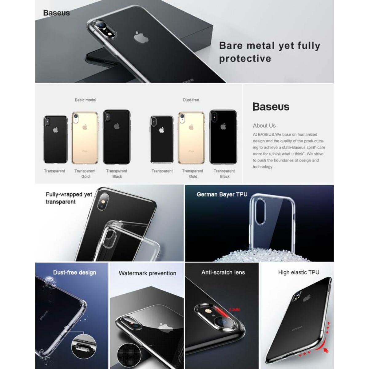 Baseus iPhone XR tok, Simplicity, átlátszó arany (ARAPIPH61-B0V)