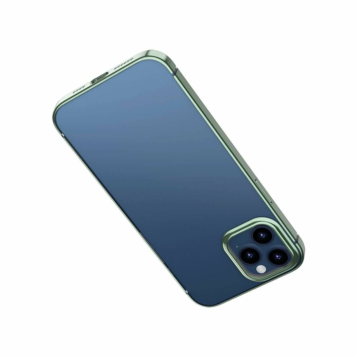 Baseus iPhone 12/12 Pro tok, Shining (esés védelemmel), zöld (ARAPIPH61P-MD06)