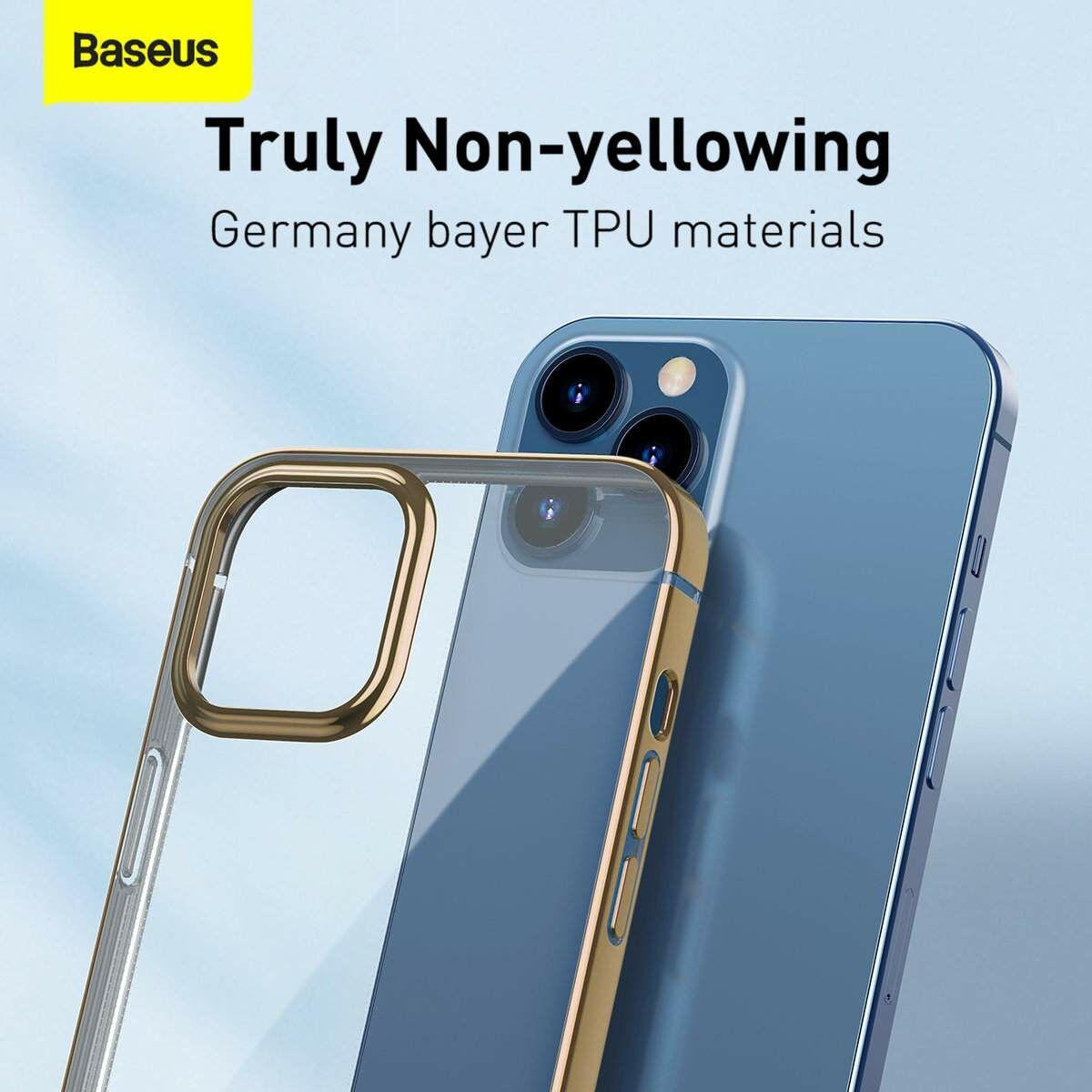Baseus iPhone 12/12 Pro tok, Shining (esés védelemmel), arany (ARAPIPH61P-MD0V)