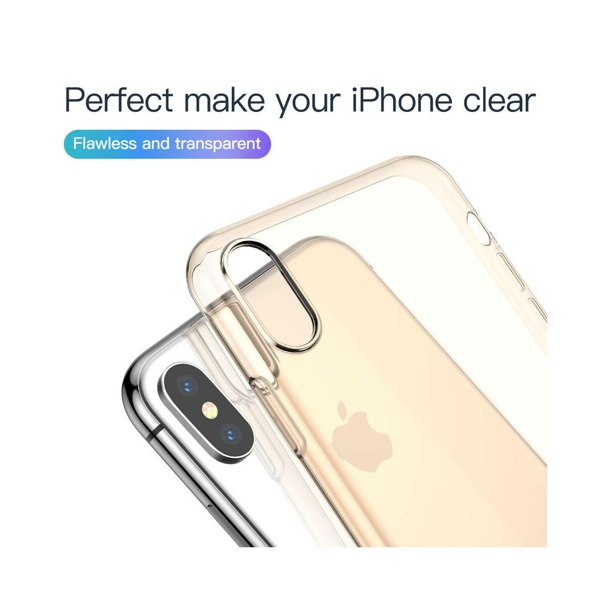 Baseus iPhone XS Max tok, Simplicity, pormentes, átlátszó arany (ARAPIPH65-A0V)
