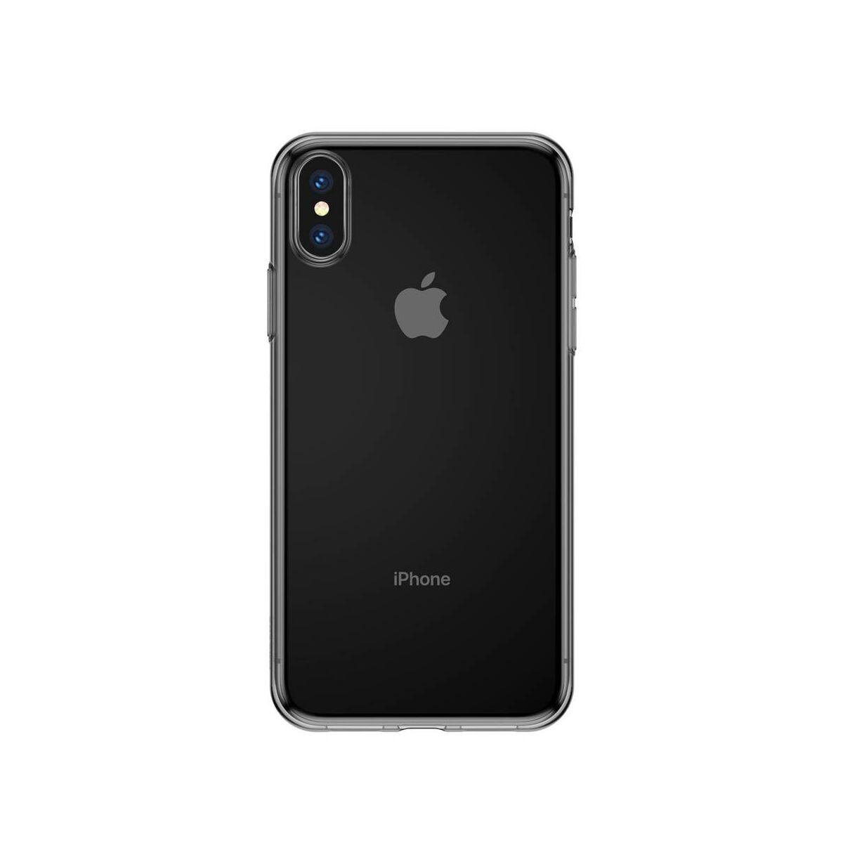 Baseus iPhone XS Max tok, Simplicity series, átlátszó fekete (ARAPIPH65-B01)