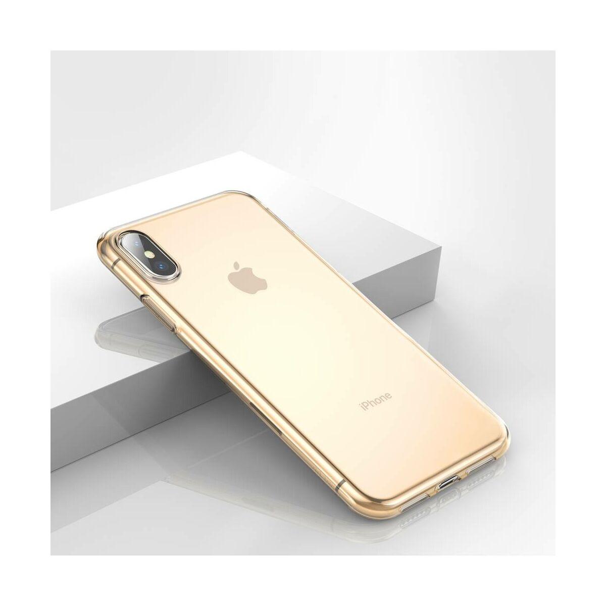 Baseus iPhone XS Max tok, Simplicity series, átlátszó arany (ARAPIPH65-B0V)