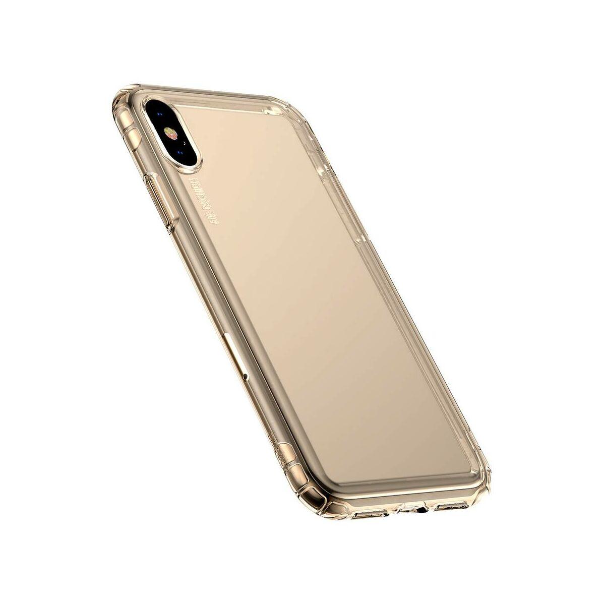 Baseus iPhone XS Max tok, Safety Airbags, átlátszó arany (ARAPIPH65-SF0V)