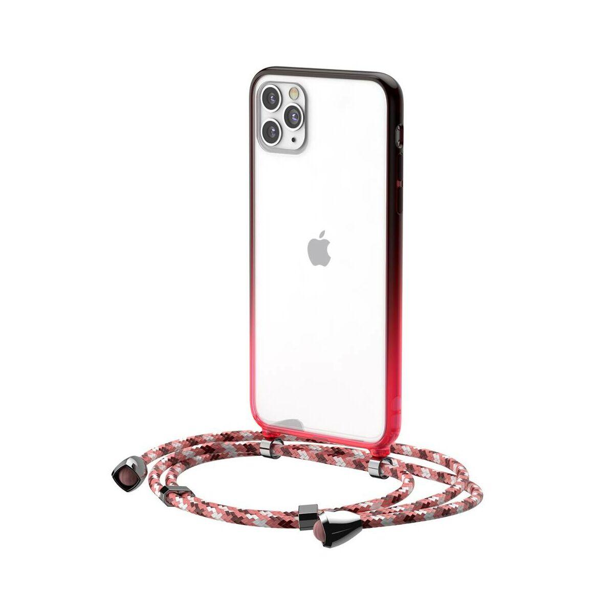 Baseus iPhone 11 Pro Max tok, Element Crossbody, csuklóra köthető textil zsineggel, piros (ARAPIPH65S-YS09)
