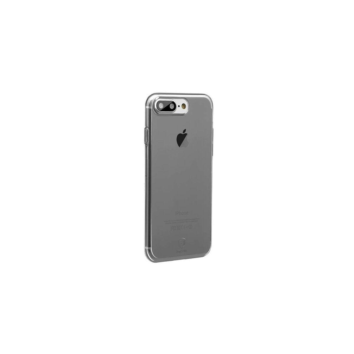 Baseus iPhone 8/7 tok, Simple series, (töltő csatlakozó nyilás lezáróval), átlátszó, fekete (ARAPIPH7P-A01)