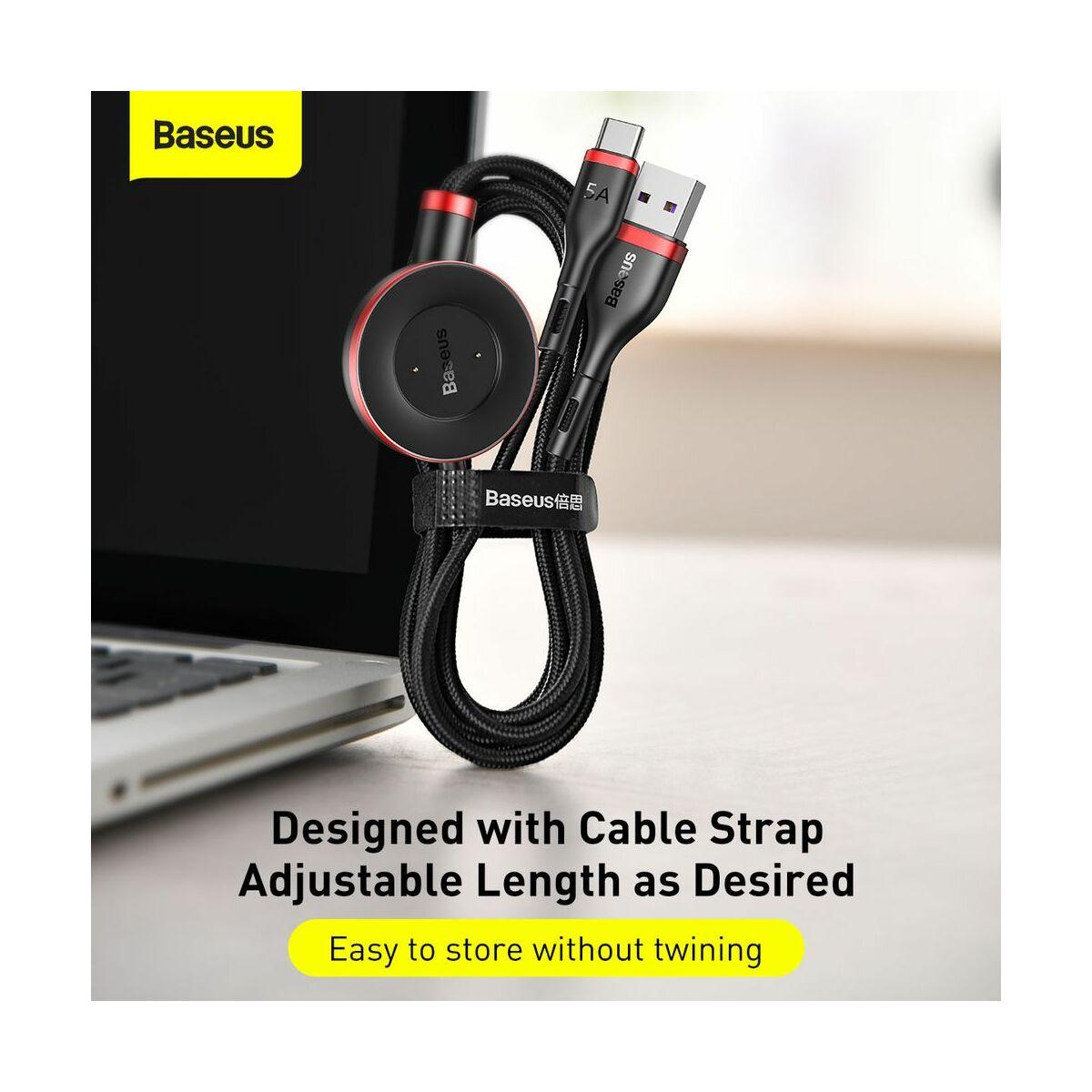 Baseus Univerzális kábel, Cafule Series 2-in-1 Type-C + okosóra töltő dokkoló, 5A, 1.5m, fekete/piros (CA1T2-91)