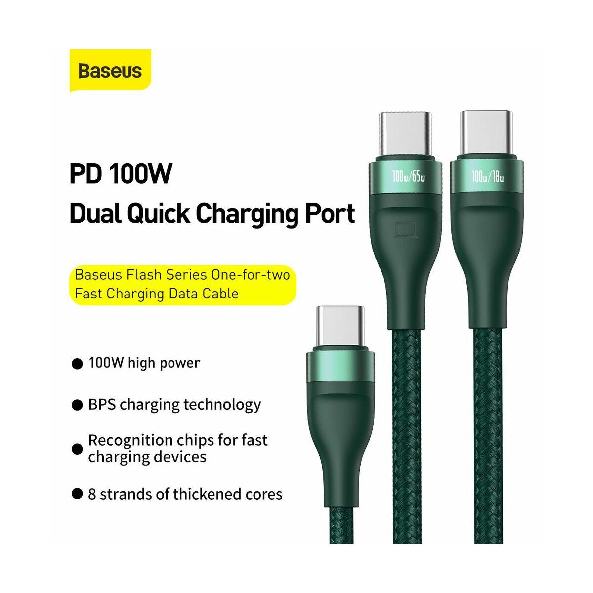 Baseus Type-C - Type-C kábel, Flash series 2-in-1 gyorstöltő, Type-C to C+C 100 W 1.5m, zöld (CA1T2-C06)