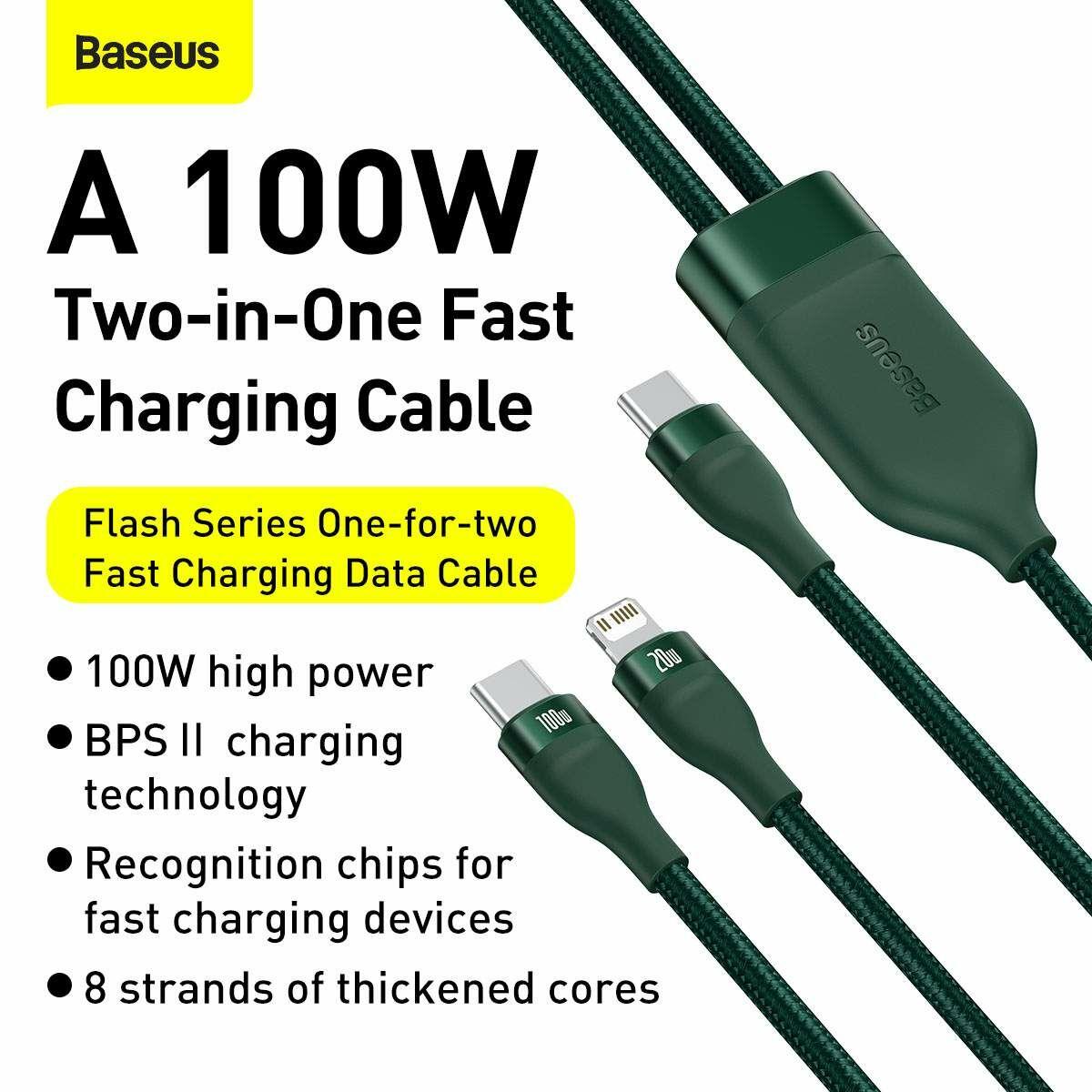 Baseus Type-C - Type-C Kábel Flash Series 2-in-1 Gyors töltés Type-C bemenetről L+C 100W 1.2m, zöld (CA1T2-F06)