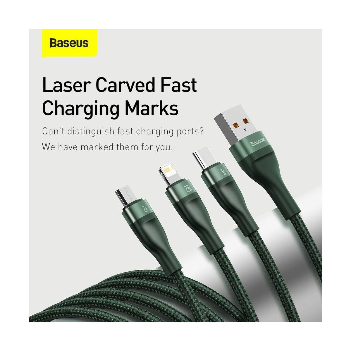 Baseus Univerzális kábel, Flash Series 3-in-1 gyors töltő (Micro+Lightning+Type-C) 18W, 5A, 1.2m, zöld (CA1T3-06)
