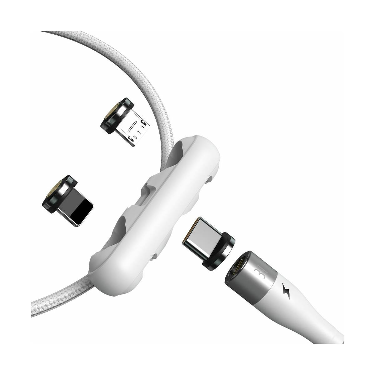 Baseus Univerzális kábel, Zinc mágneses USB véggel + töltőfej szett (Lightning/Type-C/Micro) 3A, 1m, fehér (CA1T3-A02)