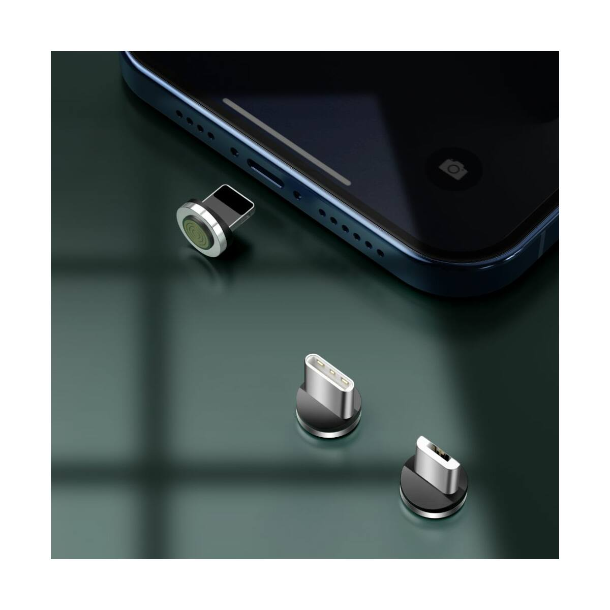 Baseus Univerzális kábel, Zinc mágneses USB véggel + töltőfej szett (Lightning/Type-C/Micro) 3A, 1m, fekete/szürke (CA1T3-AG1)