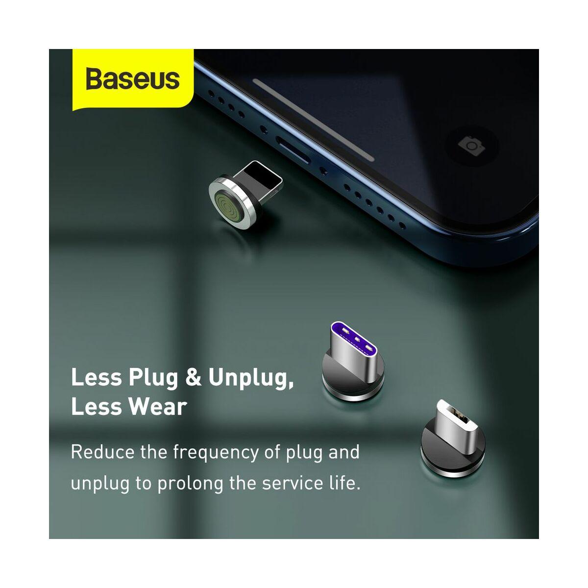 Baseus Univerzális kábel, Zinc mágneses USB véggel + töltőfej szett (Lightning/Type-C/Micro) 5A, 1m, fekete/szürke (CA1T3-BG1)