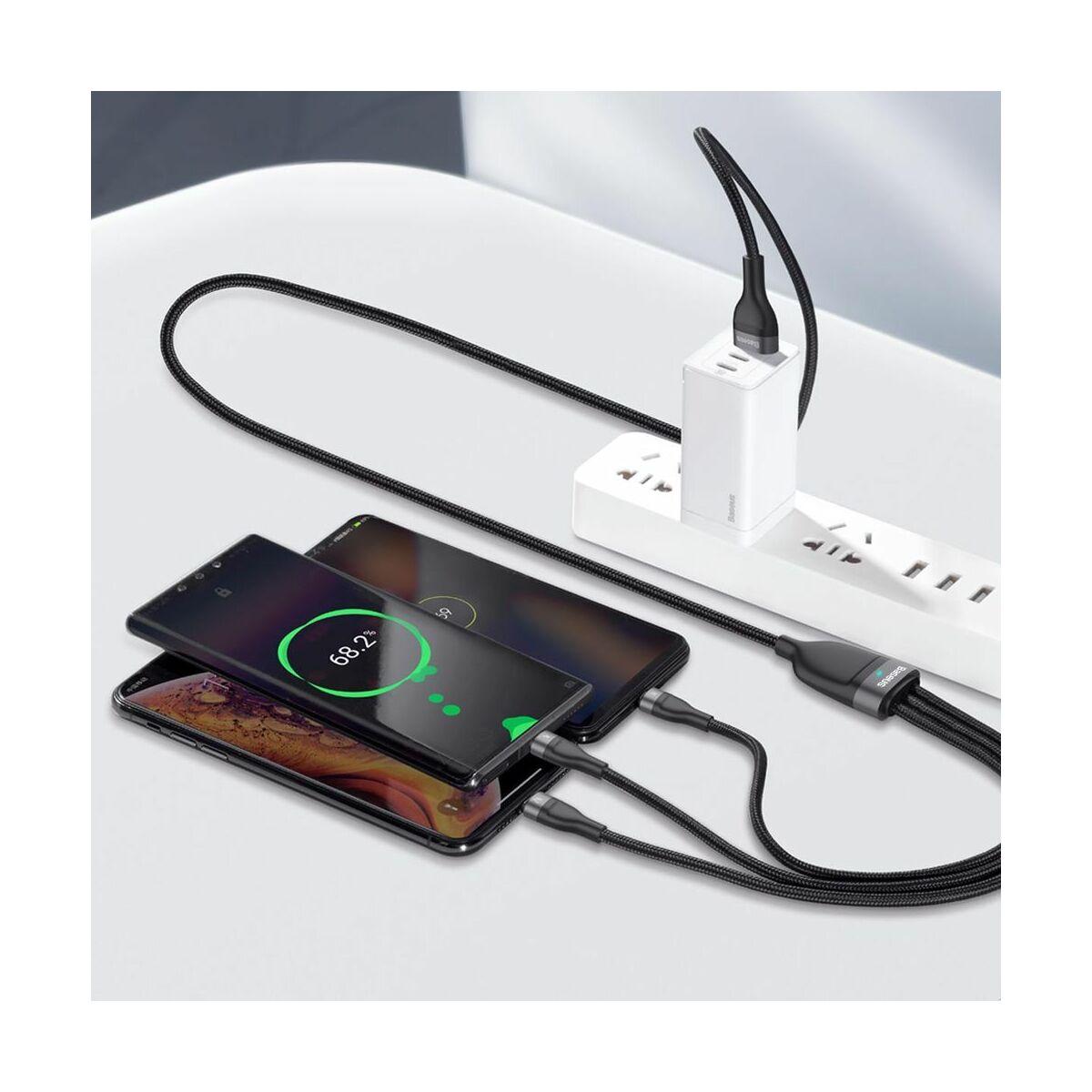 Baseus Univerzális kábel, Flash Series 3-in-1 gyors töltő (Micro+Lightning+Type-C) 18W, 5A, 1.2m, fekete/szürke (CA1T3-G1)