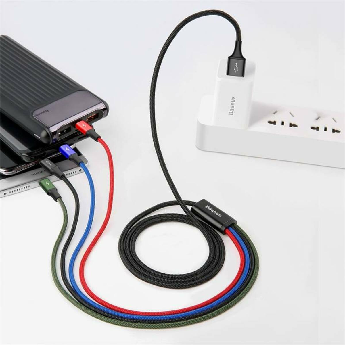 Baseus Univerzális kábel, Fast, 4-in-1 multifunkciós(2 x Fast Lightning + Type-C + micro USB), 3.5A, 1.2m, fekete (CA1T4-A01)
