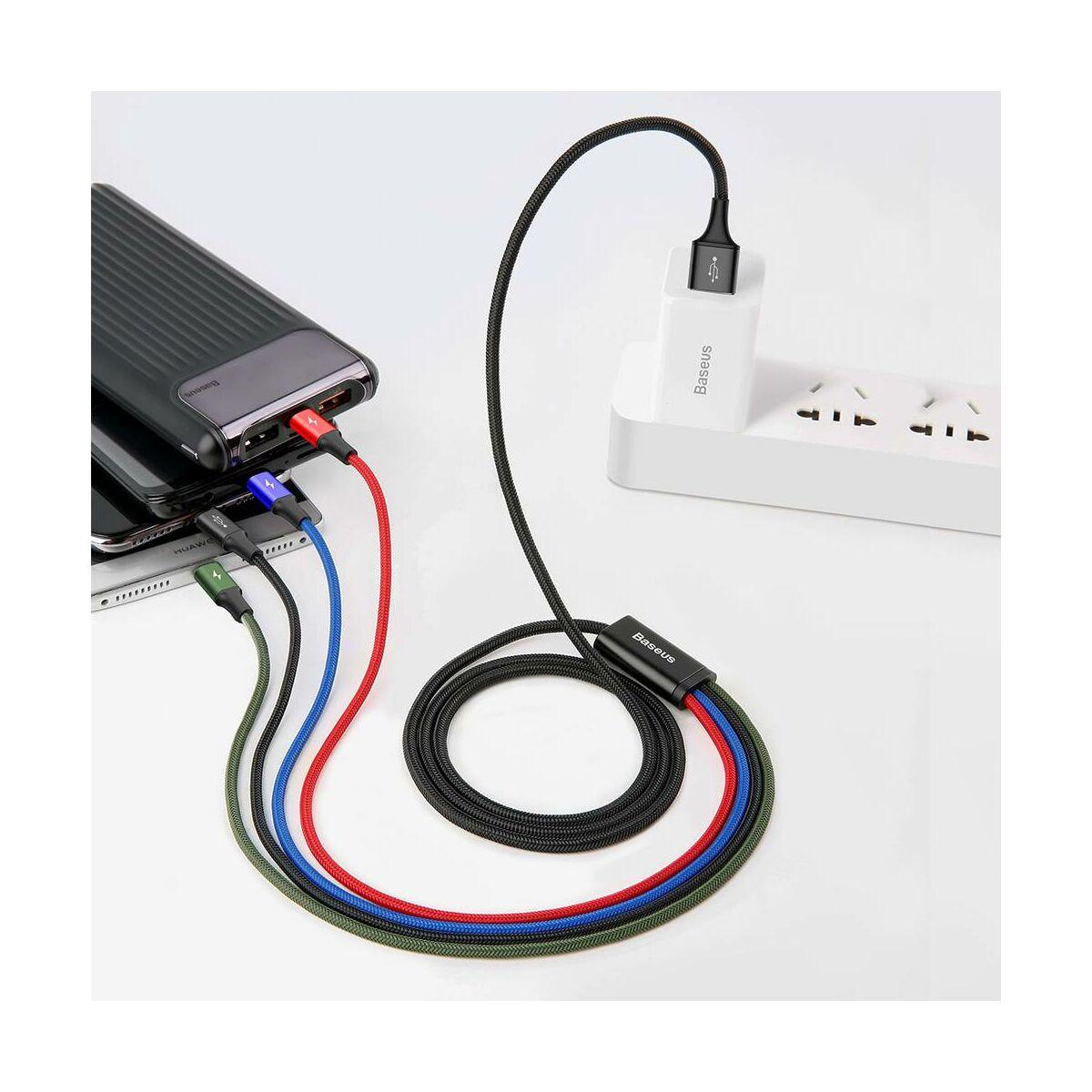 Baseus Univerzális kábel, Fast, 4-in-1 multifunkciós(Fast Lightning + 2 x Type-C + micro USB), 3.5A, 1.2m, fekete (CA1T4-B01)
