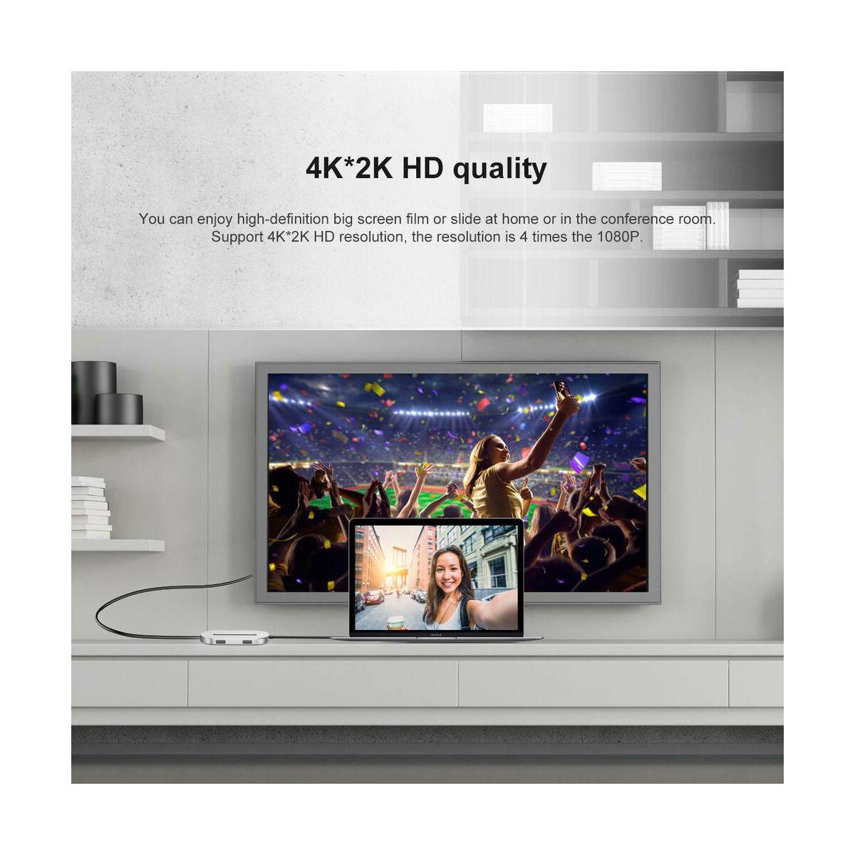 Baseus HUB, O Shape multifunkcionális (Type-C bemenetről - 4K HDMI/1xUSB3.0/2xUSB2.0/Type-C) adapter, ezüst (CABOOK-0S)