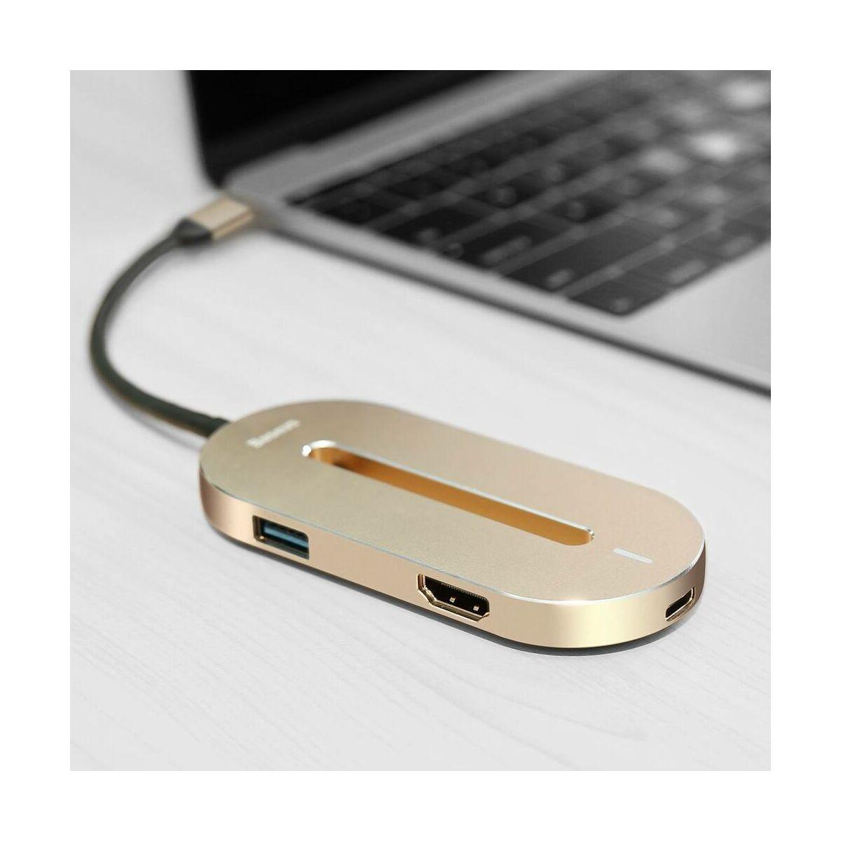 Baseus HUB, O Shape multifunkcionális (Type-C bemenetről - 4K HDMI/1xUSB3.0/2xUSB2.0/Type-C) adapter, arany (CABOOK-0V)