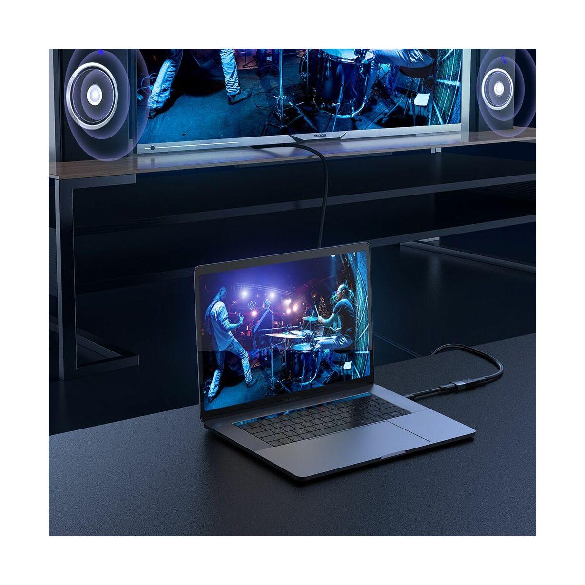 Baseus Videó átalakító, HDMI toldó adapter, 4K felbontás, sötét szürke (CAFDQ-0G)