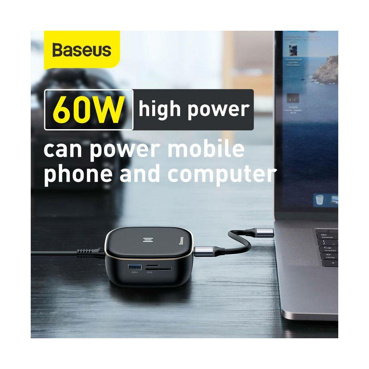 Baseus HUB, multifunkcionális, Type-C bemenetről, AC Adapter, USB3.0x2 + 4K HDMI + RJ45 + SD/TF + PD 60W töltő, fekete (CAHUB-AU01)