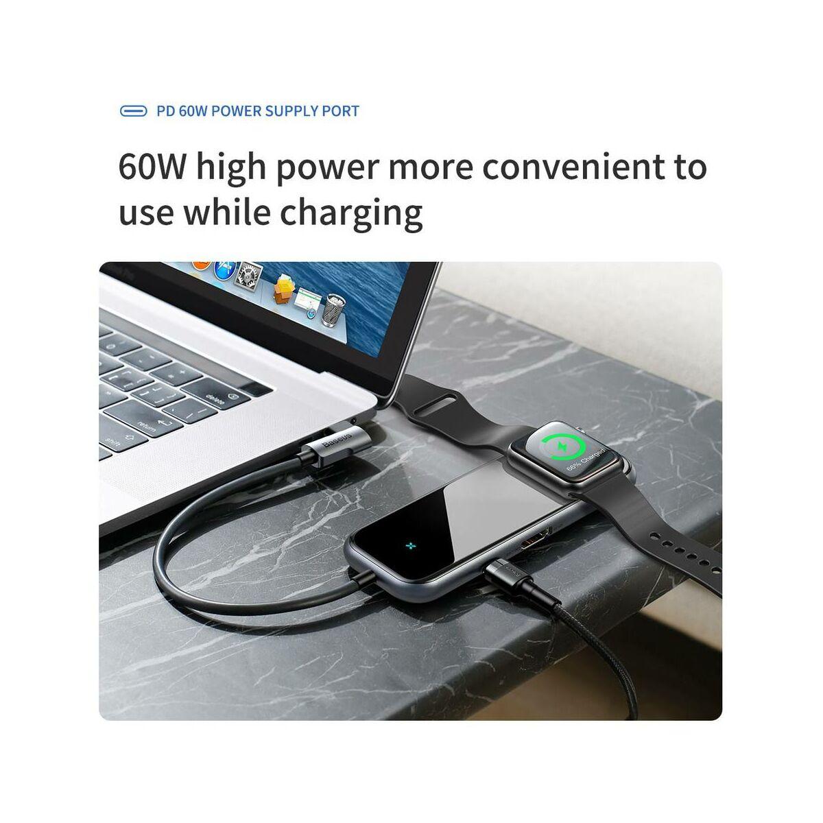 Baseus HUB, Superlative Multi (Type-C bemenetről - 2xUSB3.0/HDMI/Audio/PD/Apple Watch vez.nélk.) adapter, szürke (CAHUB-AZ0G)