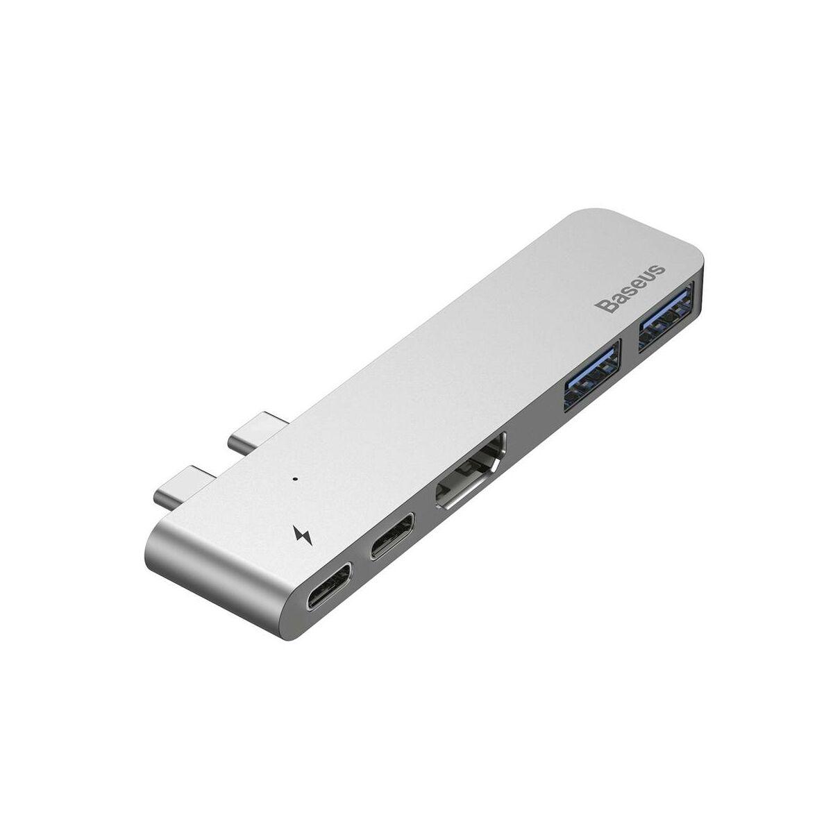 Baseus HUB, Thunderbolt (dual Type C bemenetről - 2xType-C/2xUSB3.0/HDMI/Type-C) smart dokkoló állomás, szürke (CAHUB-B0G)