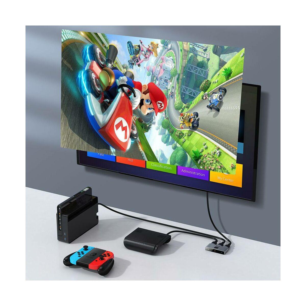 Baseus HUB, Matrix HDMI jel elosztó/összesítő (2-in-1 or 1-in-2), szürke (CAHUB-BC0G)