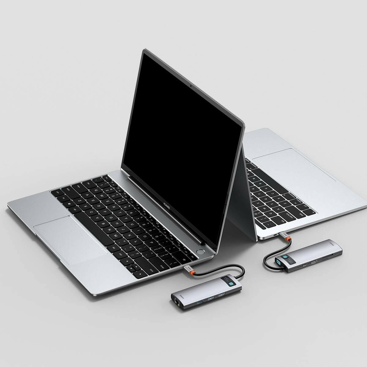 Baseus HUB Metal Gleam Series 8-in-1 Multifunkciós (Type-C bemenetről PD/4K HD/USB3.0) Dokkoló, szürke (CAHUB-CV0G)