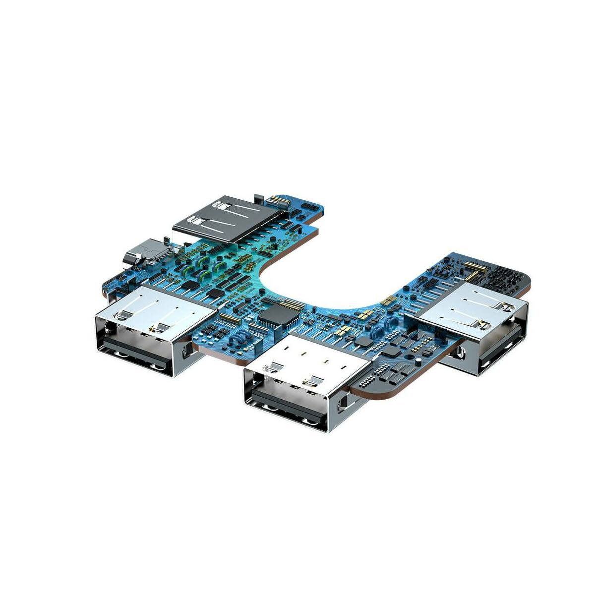 Baseus HUB, teljesen kihajtható csatlakozó fejjel, hordozható 4-in-1 (Type-C bemenetről 4xUSB2.0 energia támogatással), fekete (CAHUB-DW01)