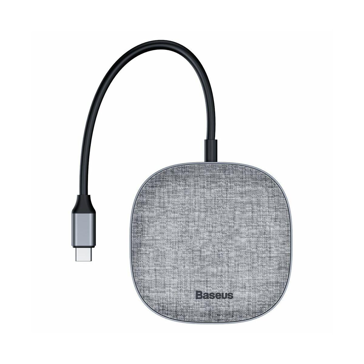 Baseus HUB Fabric Series 7-in-1 (Type-C bemenetről -  2x USB3.0 + 4K HDMI + RJ45 + Micro SD) sötét szürke (CAHUB-DX0G)