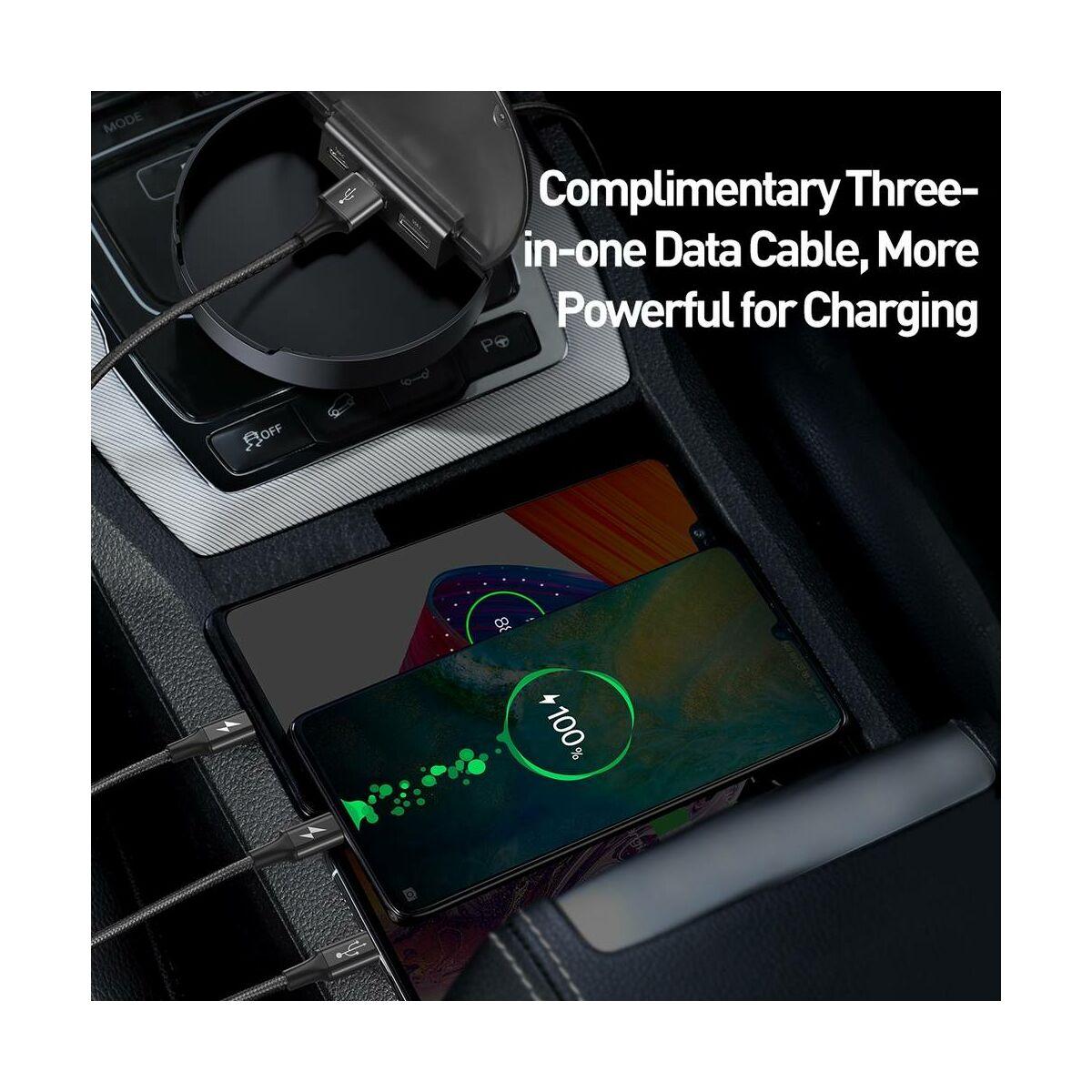Baseus autós töltő, Sharing Station (Type-C+Dual USB Mico+Light+Type-C adat kábel), 3.4A, fekete (CAHUB-FX01)
