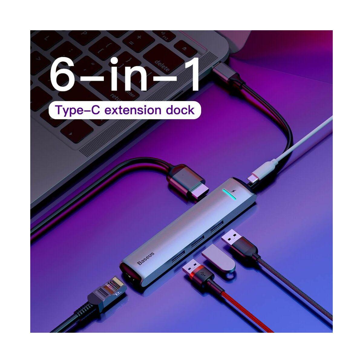 Baseus HUB, Mechanical 6-in-1 (Type-C bemenetről - PD/HDMI/3xUSB3.0/RJ45 Ethernet) adapter, szürke (CAHUB-J0G)