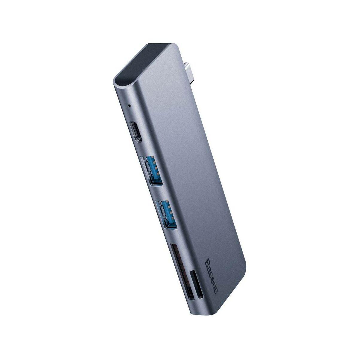 Baseus HUB, Harmonica 5-in-1 (Type-C bemenetről - SD/MicroSD/2xUSB3.0/Type-C) adapter, szürke (CAHUB-K0G)